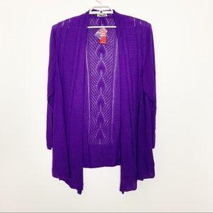 NWT Avenue Purple Knit Cardigan 22/24 #2171